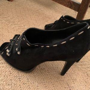 BCBGeneration Open Toe Black Heels w/ stitching